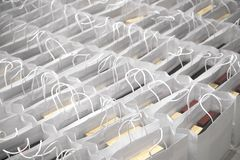 Paper shopping back ready for sale. White paper bag ready for shopper on sale festival Royalty Free Stock Photo