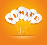 White paper ballons on orang background with lerrers SUMMER Stock Photo