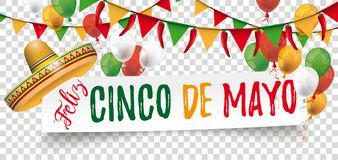 Paper Banner Buntings Chili Sombrero Feliz Cinco de Mayo. White paper banner with balloons, confetti and jesters cap
