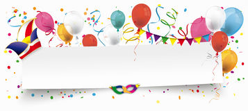 White Paper Banner Balloons Jesters Cap. White paper banner for Carnival on the white background Royalty Free Stock Photo