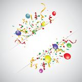 White paper banner, colored balloons and colored confetti. vector file. EPS 10 Stock Image