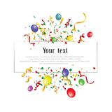 White paper banner, colored balloons and colored confetti. vector file. EPS 10 Royalty Free Stock Photos