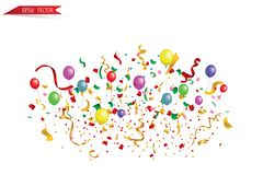 White paper banner, colored balloons and colored confetti. vector file. EPS 10 Stock Photo