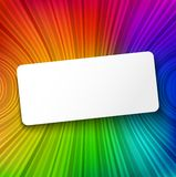 White paper banner on colorful striped background Royalty Free Stock Photography