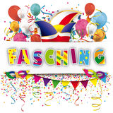 White Paper Banner Confetti Balloons Fasching. German text Fasching, translate Carnival Stock Image