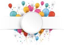 White Paper Banner Emblem Balloons Royalty Free Stock Photo