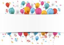 White Paper Banner Emblem Balloons Percents Stock Photo
