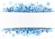 White Paper Banner Emblem Blue Snowflakes Royalty Free Stock Photo