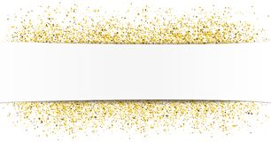 White Paper Banner Golden Sand. White paper banner with golden sand Stock Photo