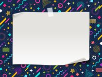 White paper banner on a abstract shape background,. White paper banner on a multicolored abstract shape background, vector illustration Stock Images