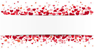 White Paper Banner Red Hearts Bokeh Stock Photo