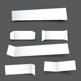 White paper banner round corner with drop shadows on grey backgr Stock Image