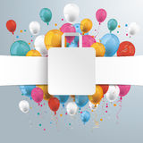 White Paper Banner Shopping Bag Balloons Royalty Free Stock Images