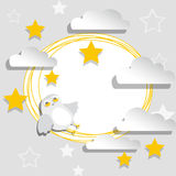 White paper banner with stars, clouds and owl Stock Image