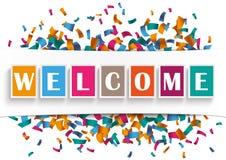 White Paper Banner Welcome Confetti Stock Photo