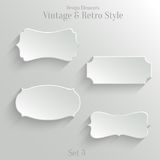 White paper banners set in vintage style. Collection of white paper banners in vintage and retro style. Set 3 royalty free illustration