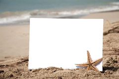 White paper on the beach. Blank piece of paper with a starfish on the sand with sea background Stock Images