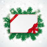 White Paper Board Red Ribbon Snowfall Branches Stock Image