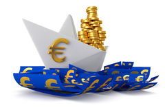 White paper boat euros Royalty Free Stock Photo
