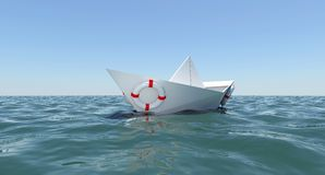 White Paper Boat Floating In The Sea Water Stock Photos
