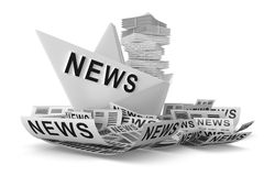 White paper boat news Stock Photos