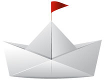 White paper boat with red flag. Illustration Stock Images