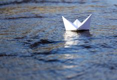 White Paper Boat Sailing Stock Photos