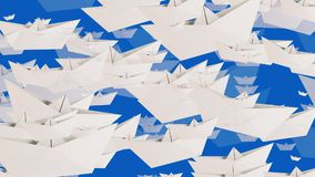 White paper boats on blue color stock video footage