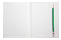 White paper book free space and green pencil Stock Photos