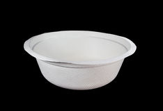 White paper bowl. Isolated on black background Royalty Free Stock Photos