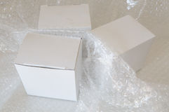 White paper box and air bubble Stock Image
