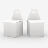 White paper box packaging with hanger, clipping path included Stock Photos