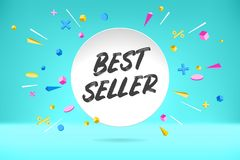 White paper bubble cloud with text Best Seller sale, shopping promo banner, discount design. Vector poster with cloud Stock Photos