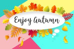 White paper bubble cloud with text Enjoy Autumn. Autumn mood, joy, waiting leaf fall. Poster with bubble, text message Royalty Free Stock Image