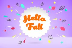 White paper bubble cloud with text Hello Fall. Autumn mood, the joy, waiting leaf fall. Poster with bubble, text message Royalty Free Stock Photos