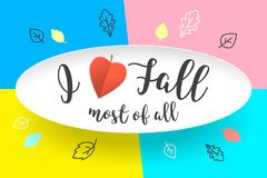 White paper bubble cloud with text I love Fall most of all. Autumn mood, joy, waiting leaf fall. Poster with text Stock Photography