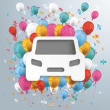 White Paper Car Balloons Percents Stock Image