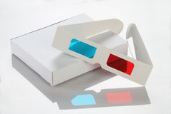 White Paper / Card Box and 3D Glasses Stock Image