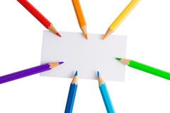 White paper card and color pencils Stock Photography