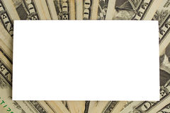 White paper card on dollars Royalty Free Stock Image