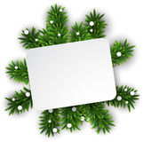 White paper card over christmas eve branches. Royalty Free Stock Photo