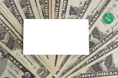 White paper card on US dollars Royalty Free Stock Photography