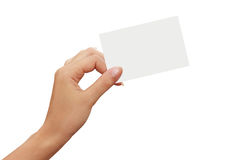 White paper card in a woman hand Stock Photos