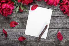 White paper card with wooden pencil, pink peonies and petals on rustic wooden background Stock Image