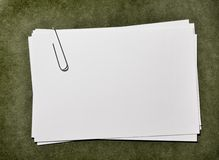 White Paper Cards with Paperclip Stock Photography