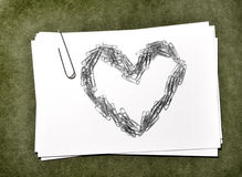 White Paper Cards with Paperclip Heart Stock Image