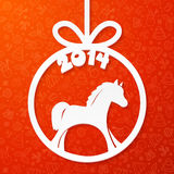 White paper Christmas ball with horse and year. White vector paper Christmas ball with horse and year Royalty Free Stock Photo
