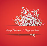 White paper Christmas snowflake on a red background, vector illustration. Text can be added Royalty Free Stock Images