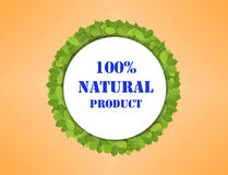 White paper circle made of green leaves with 100% natural product. Close vector illustration