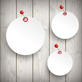 3 White Paper Circle Stickers Pin Wood Royalty Free Stock Image